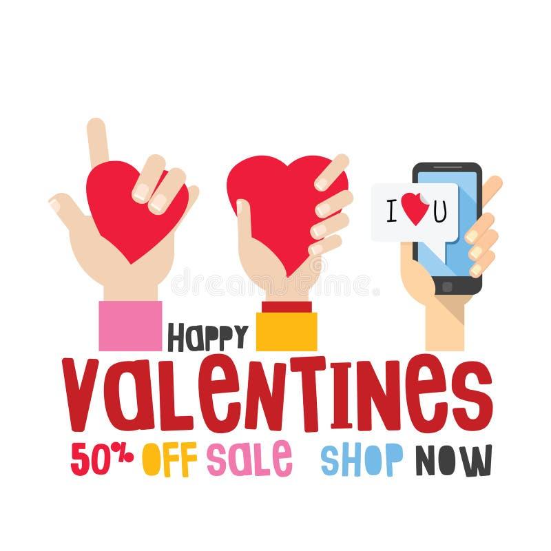 Szczęśliwa Valentine's dnia sprzedaż Ręka z smartphone i palca znaka miłością, 50% z sprzedaż tytułu royalty ilustracja