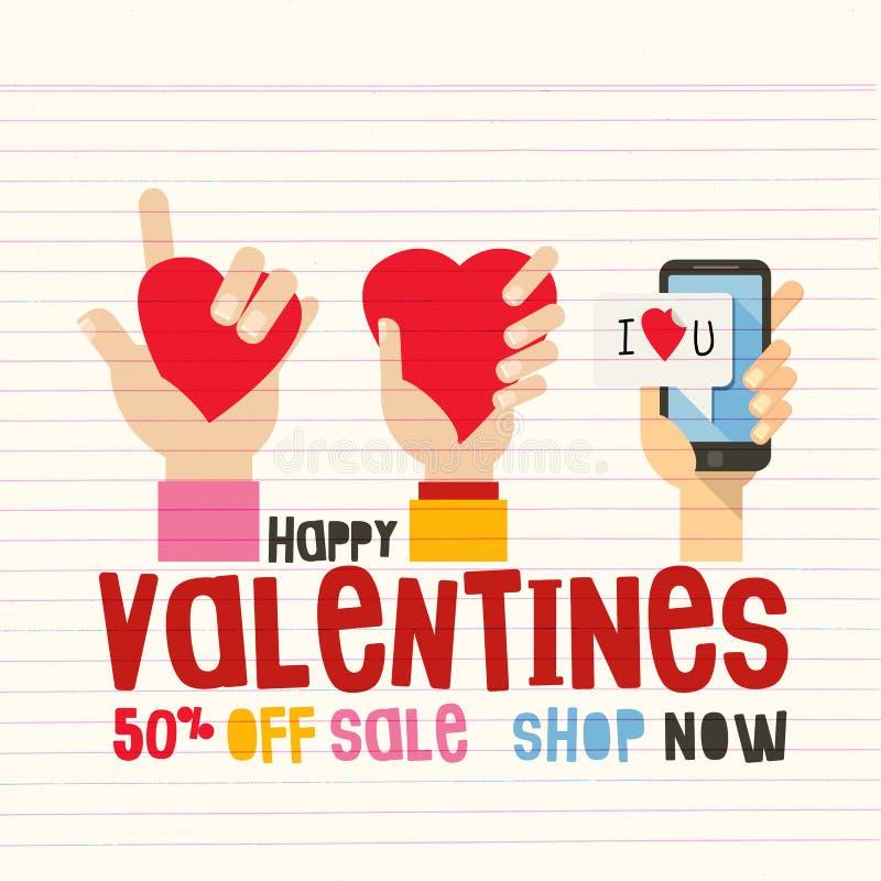 Szczęśliwa Valentine's dnia sprzedaż Ręka z smartphone i palca znaka miłością, 50% z sprzedaż tytułu obraz royalty free