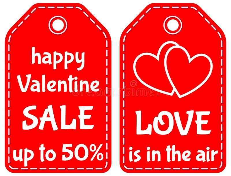 Szczęśliwa valentine sprzedaż do 50 miłości jest w lotniczym etykietka secie royalty ilustracja