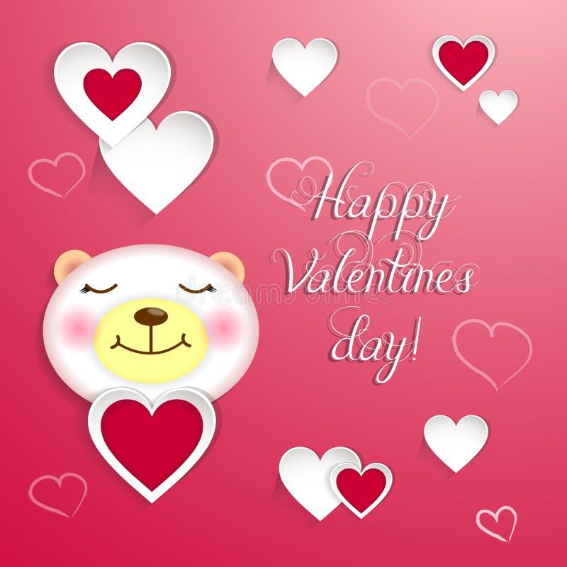 Szczęśliwa valentines dnia delikatna kartka z pozdrowieniami z ślicznym niedźwiedziem obraz stock
