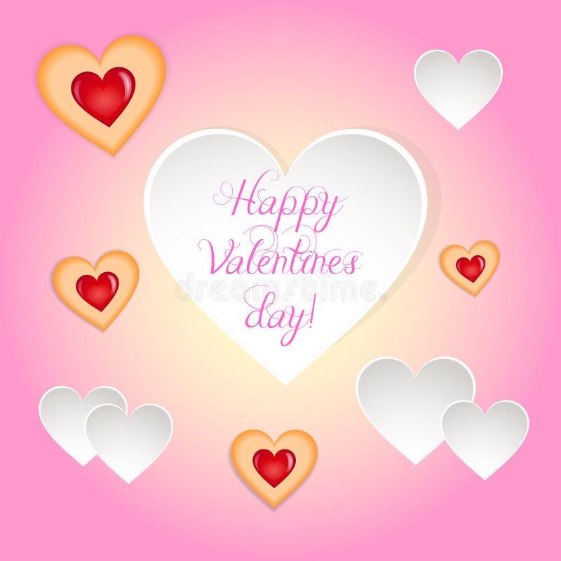 Szczęśliwa valentines dnia delikatna kartka z pozdrowieniami fotografia royalty free