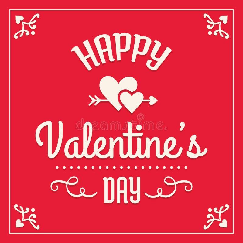 Szczęśliwa valentines dnia karta w czerwieni i śmietance royalty ilustracja