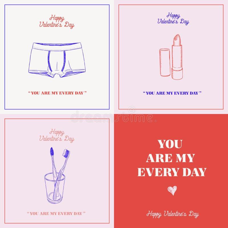 Szczęśliwa valentines dnia prezenta karta, ty jesteś mój każdy dnia pojęciem royalty ilustracja