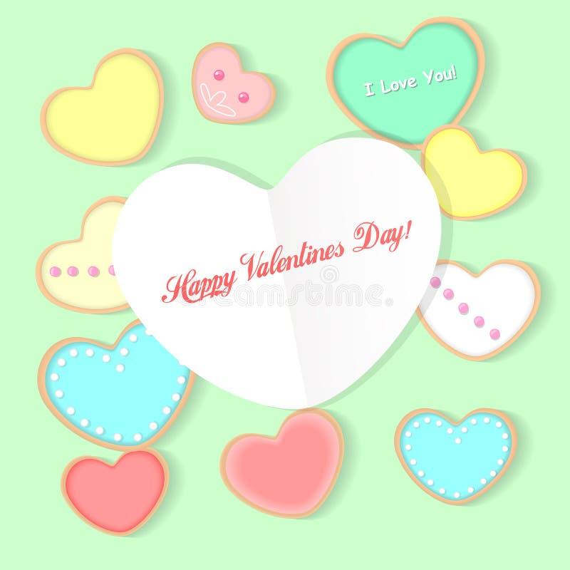 Szczęśliwa valentines dnia urocza kartka z pozdrowieniami fotografia stock