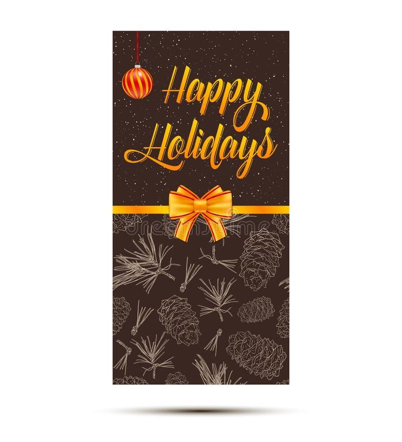 Szczęśliwa wakacje karta z jedlinowymi gałąź, śniegiem, boże narodzenie piłką i złocistym łękiem, Szablon dla wizytówki, sztandar ilustracji