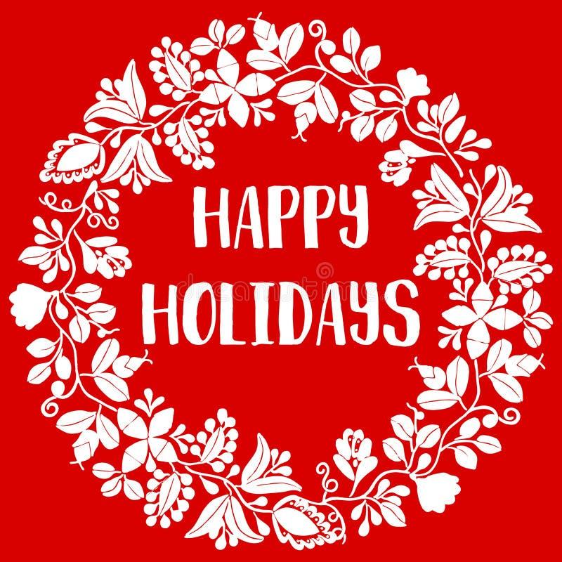 Szczęśliwa wakacje wektoru karta z białym wiankiem odizolowywającym na czerwonym tle ilustracja wektor