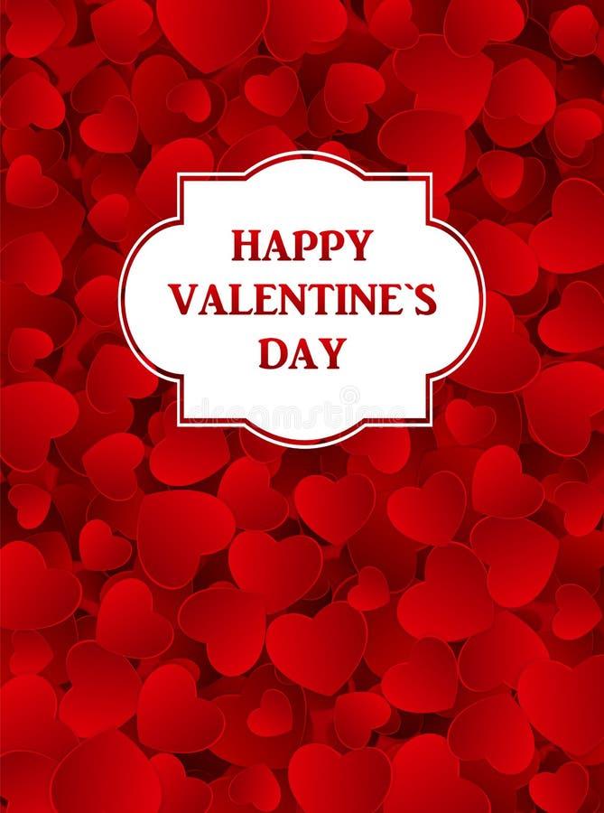 Szczęśliwa Walentynek Dzień karta z sercem wektor royalty ilustracja