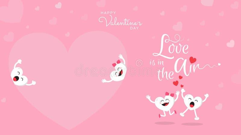 Szczęśliwa walentynka dnia śliczna kreskówka na różowym tle ilustracja wektor
