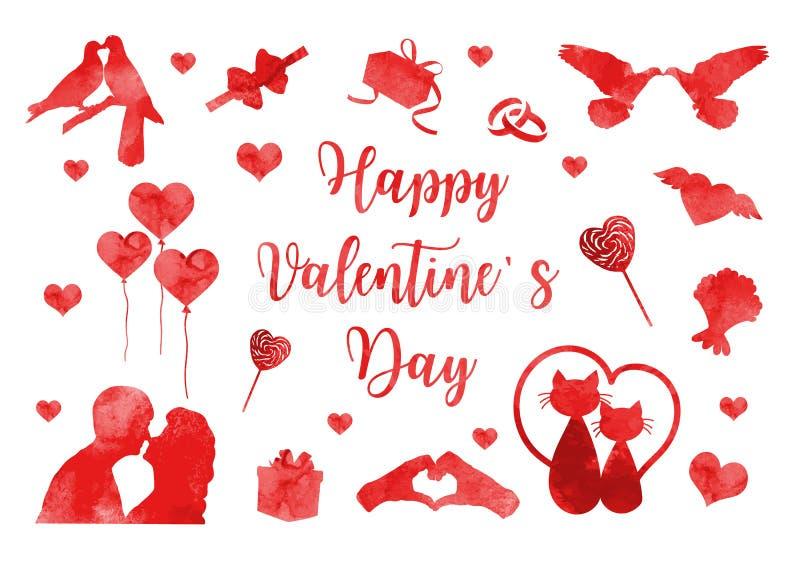 Szczęśliwa walentynka dnia ikona ustawiająca akwareli sylwetki Śliczna romansowa miłości kolekcja projektów elementy z sercem royalty ilustracja