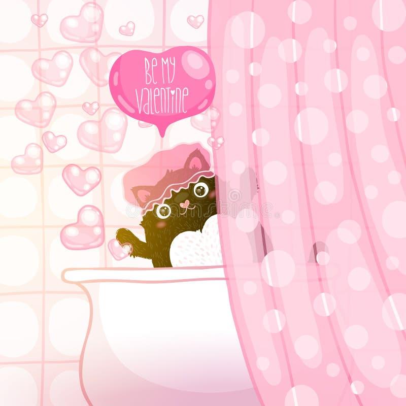 Szczęśliwa walentynka dnia karta z kotem ilustracji