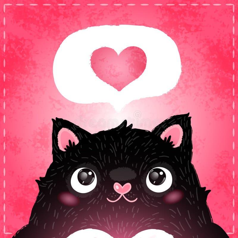 Szczęśliwa walentynka dnia karta z kotem i sercem royalty ilustracja