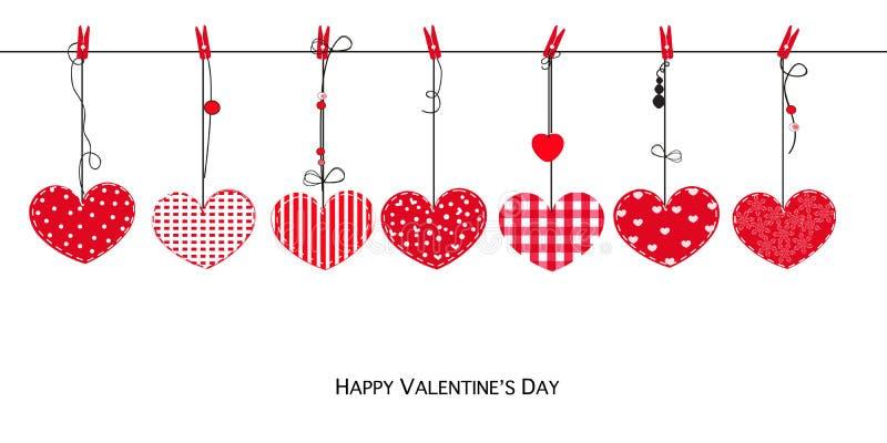Szczęśliwa walentynka dnia karta z obwieszenie miłości walentynek serc wektoru tłem ilustracja wektor