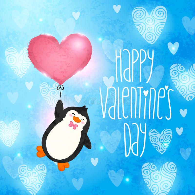 Szczęśliwa walentynka dnia karta z pingwinem ilustracji