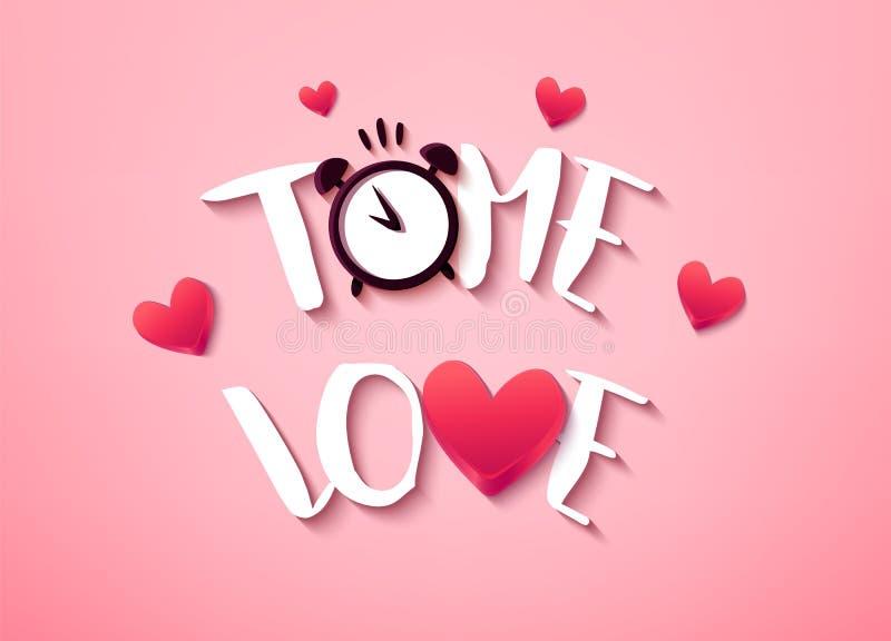 Szczęśliwa walentynka dnia karta z tekstem, sercami i budzikiem na różowym tle, wektor ilustracji