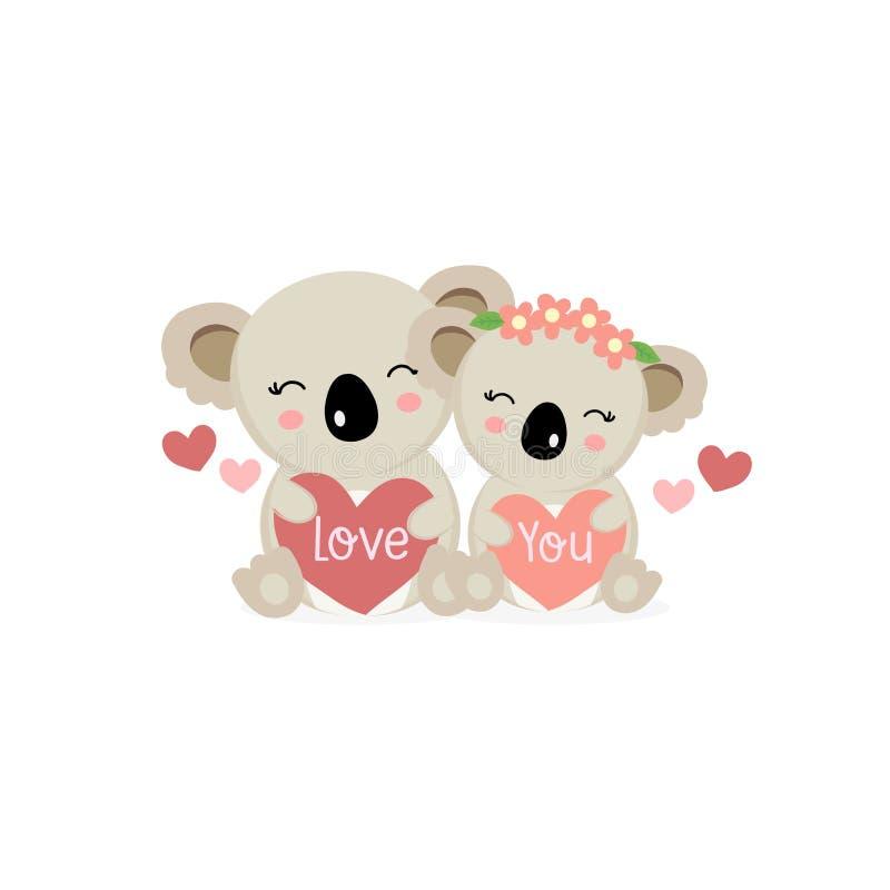 Szczęśliwa walentynka dnia kartka z pozdrowieniami z ślicznymi par koalami trzyma dużych serca ilustracja wektor