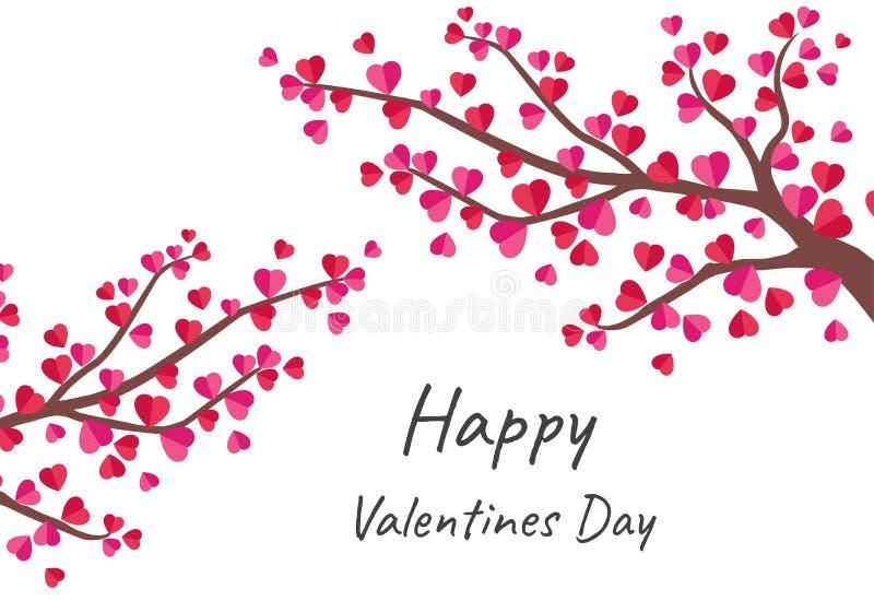 Szczęśliwa walentynka dnia kartka z pozdrowieniami z drzewem miłość ilustracja wektor