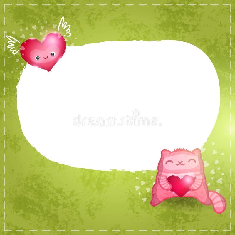 Szczęśliwa walentynki karta. Śliczny kot z sercem. ilustracji
