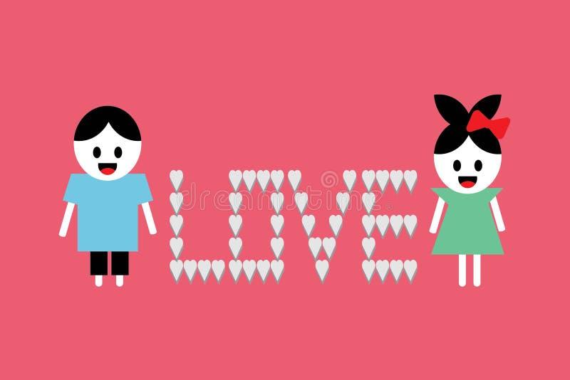 Szczęśliwa walentynki ` s dnia kartka z pozdrowieniami wektoru ilustracja zdjęcie royalty free