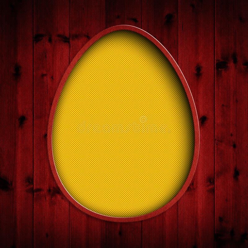 Szczęśliwa wielkanoc - żółty jajko na czerwonym tle ilustracji