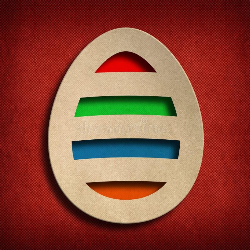Szczęśliwa wielkanoc - barwiony jajko na czerwonym tle ilustracja wektor