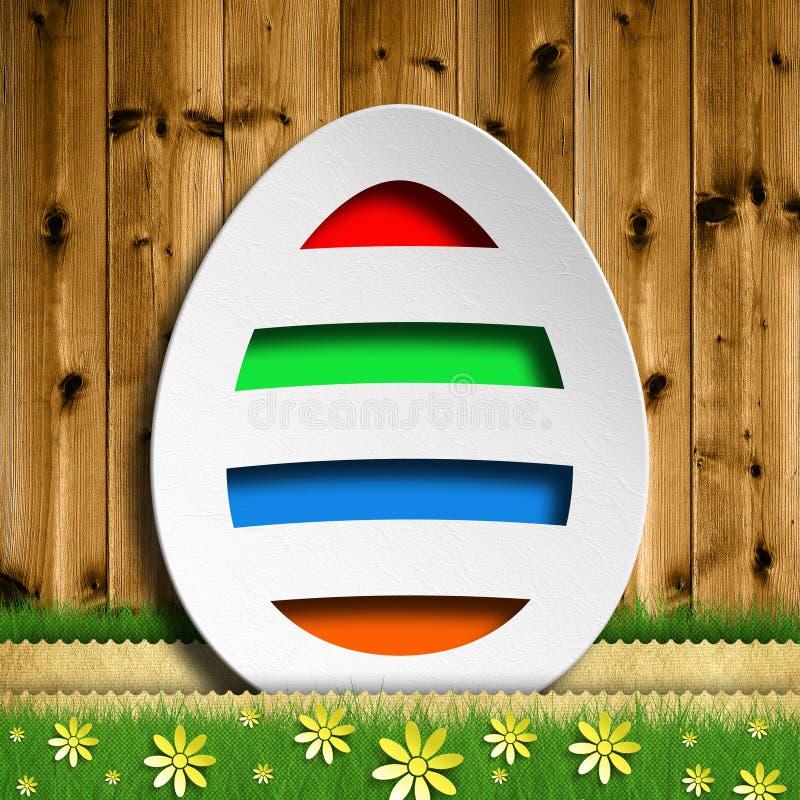Szczęśliwa wielkanoc - Barwiony jajko na drewnianym tle ilustracji