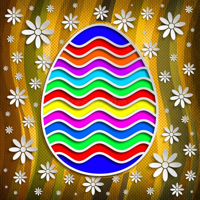 Szczęśliwa wielkanoc - barwiony jajko na wzorzystym tle royalty ilustracja