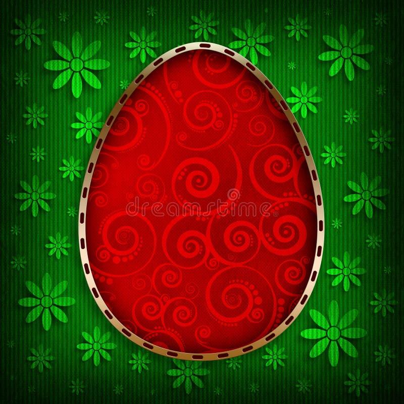 Szczęśliwa wielkanoc - czerwony jajko na zieleni deseniował tło ilustracja wektor