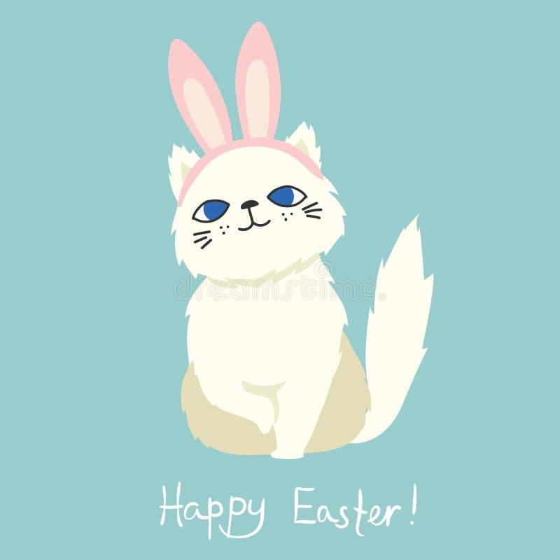 Szczęśliwa wielkanoc! Karta z ślicznym kotem ilustracji