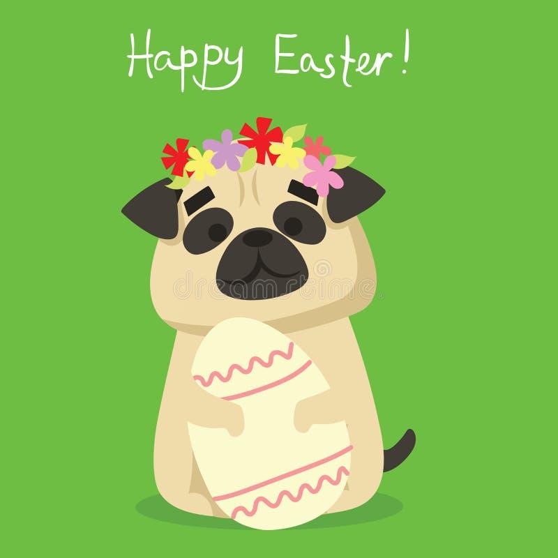 Szczęśliwa wielkanoc! Karta z ślicznym szczeniaka psem ilustracja wektor