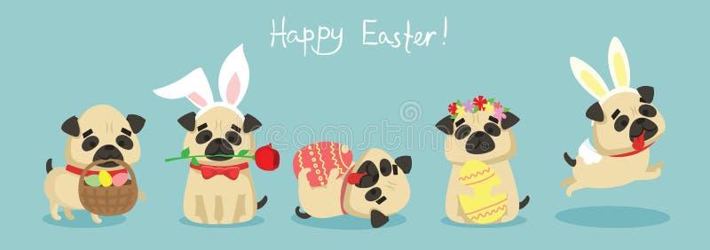 Szczęśliwa wielkanoc! Karta z ślicznym szczeniaka psem ilustracji