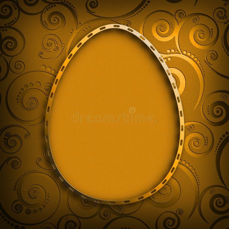 Szczęśliwa wielkanoc - kształt Easter jajko na wzorzystym tle ilustracji