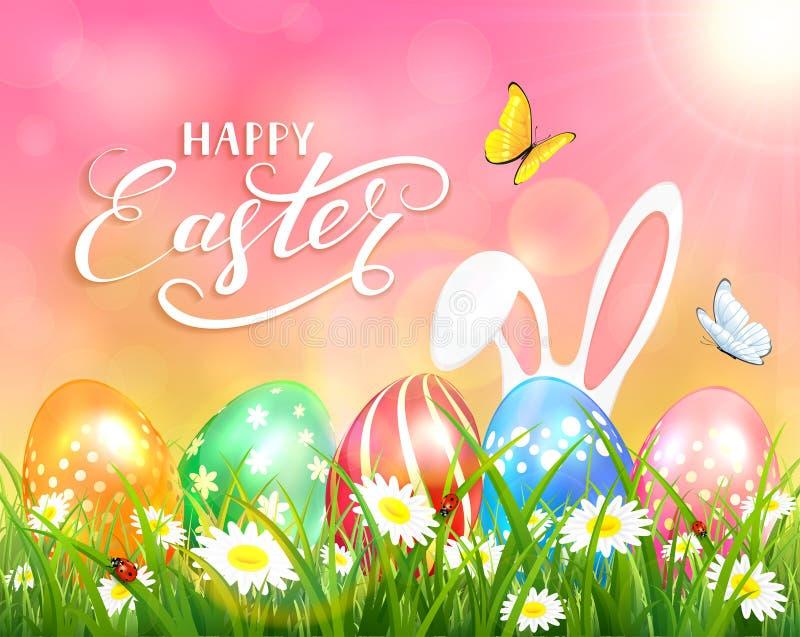 Szczęśliwa wielkanoc na różowym tle z królikiem i jajkami ilustracja wektor