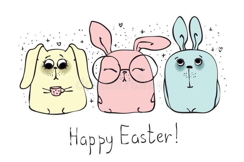 Szczęśliwa wielkanoc od ślicznych królików ilustracja wektor
