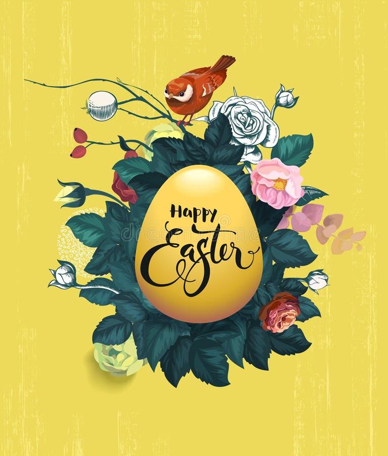 Szczęśliwa wielkanoc pisać na złotym jajku, krzaku róże i małym czerwonym ptaszyny obsiadaniu, na górze go przeciw grungy kolorow ilustracji