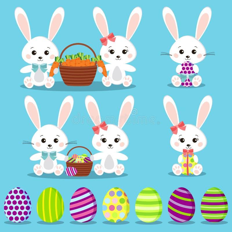 Szczęśliwa wielkanoc ustawiająca: odosobneni śmieszni króliki z kolorowymi jajkami ilustracji