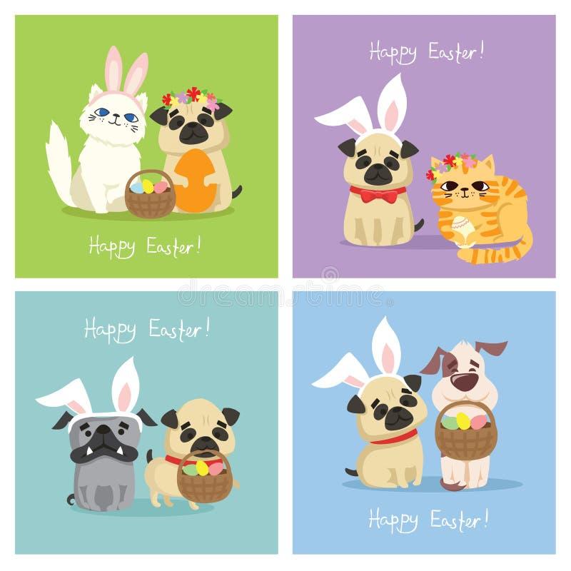 Szczęśliwa wielkanoc! Wielkanocna karta z pies i kot ilustracji