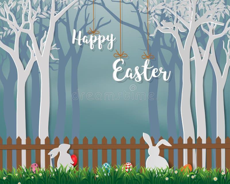 Szczęśliwa wielkanoc z ślicznymi królikami i kolorowymi jajkami na papierowym sztuki tle dla wakacje, świętowania przyjęcia lub k ilustracja wektor