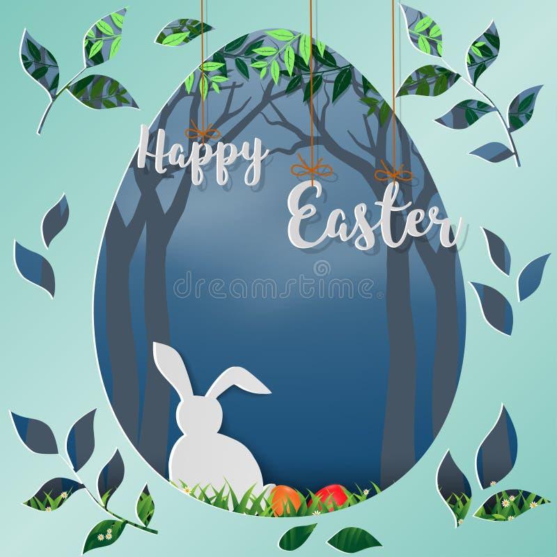 Szczęśliwa wielkanoc z białym królikiem w lesie, papierowa sztuka w jajecznym kształta tle dla wakacje, świętuje przyjęcia lub pl ilustracja wektor
