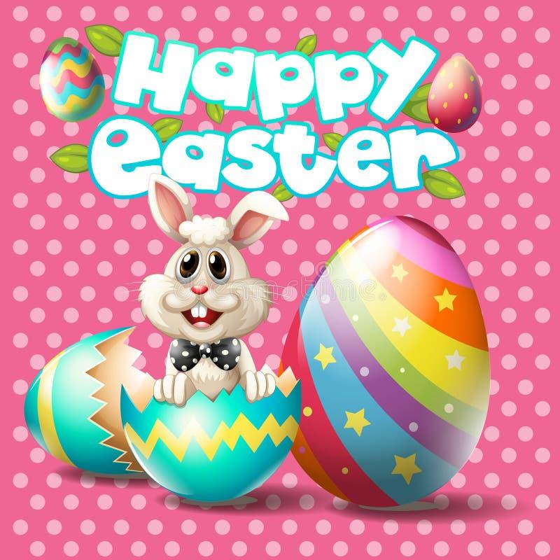 Szczęśliwa wielkanoc z królikiem i jajka na różowym tle ilustracji