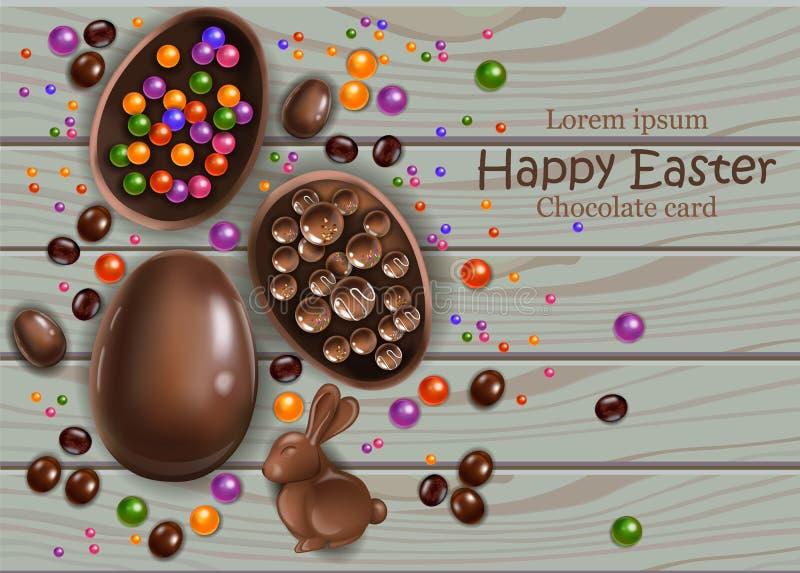 Szczęśliwa Wielkanocna czekoladowych jajek karta Wektoru 3d realistyczne ilustracje royalty ilustracja