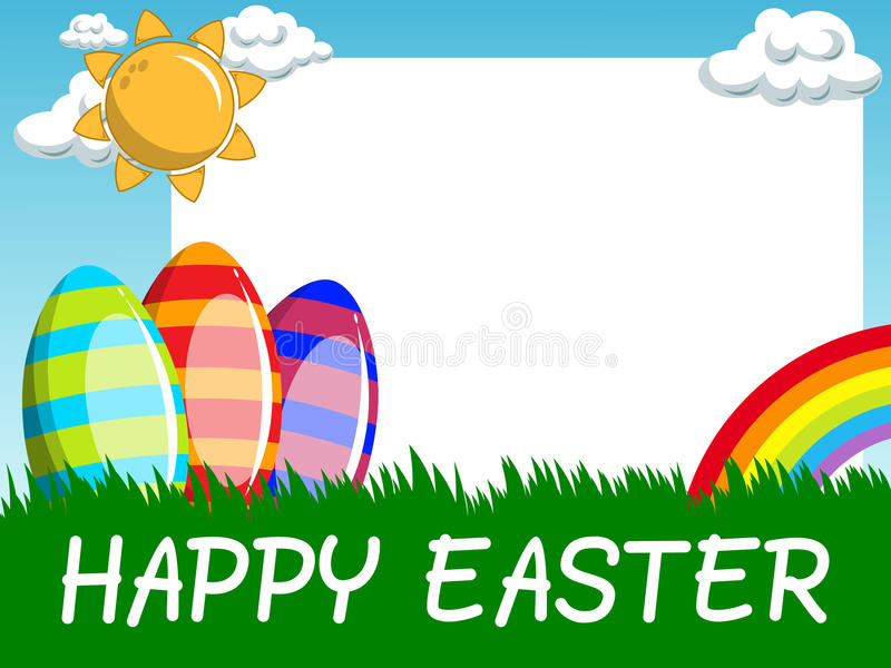 Szczęśliwa Wielkanocna horyzontalna puste miejsce rama dekorował jajka w łące ilustracji