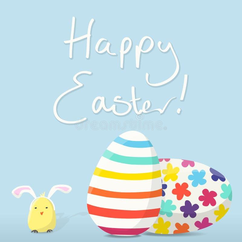 Download Szczęśliwa Wielkanocna Karta Ilustracja Wektor - Ilustracja złożonej z dekoruje, kurczątko: 28952313