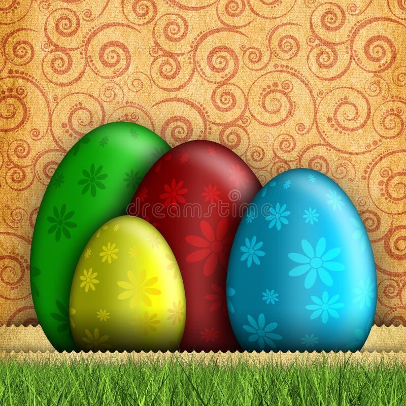 Szczęśliwa Wielkanocna karta - jajka na wzorzystym tle royalty ilustracja