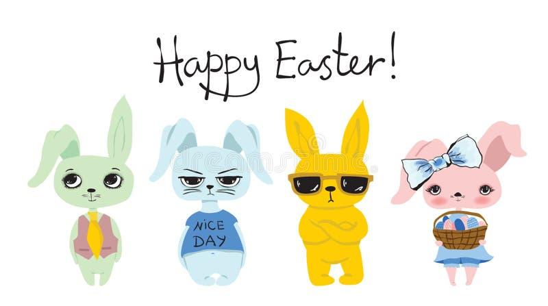 Szczęśliwa Wielkanocna karta od ślicznych królików ilustracja wektor