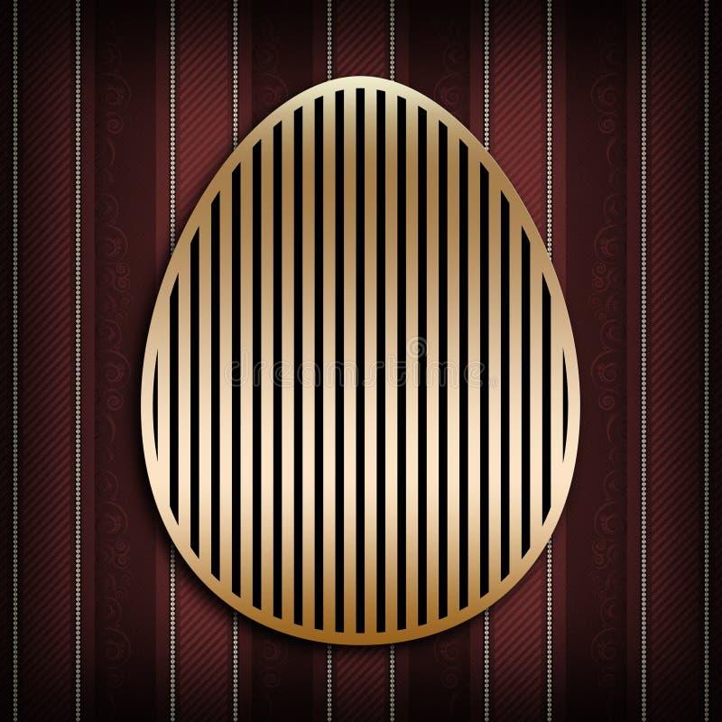 Szczęśliwa Wielkanocna karta - złoty kształt jajko ilustracja wektor