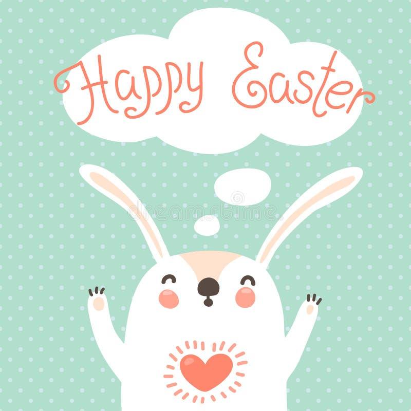 Szczęśliwa Wielkanocna karta z ślicznym królikiem. ilustracja wektor