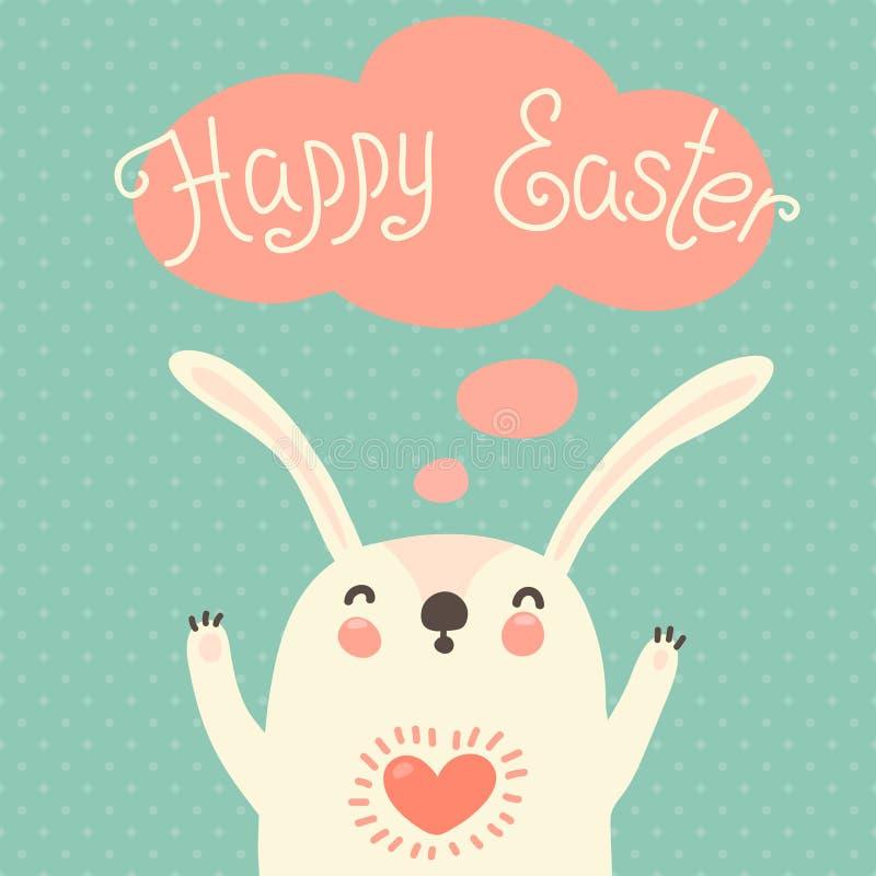 Szczęśliwa Wielkanocna karta z ślicznym królikiem. royalty ilustracja