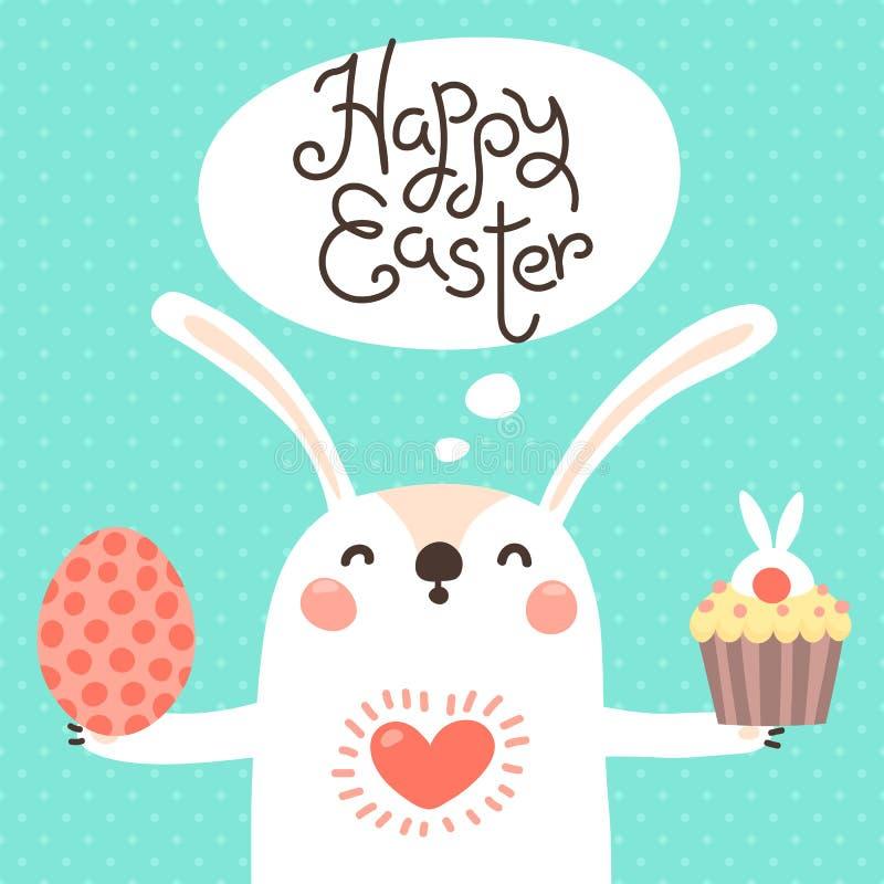 Szczęśliwa Wielkanocna karta z ślicznym królikiem Biały królik z malującą jajeczną i Wielkanocną babeczką również zwrócić corel i ilustracji