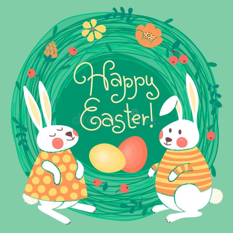 Szczęśliwa Wielkanocna karta z ślicznymi królikami i barwiąca ilustracji