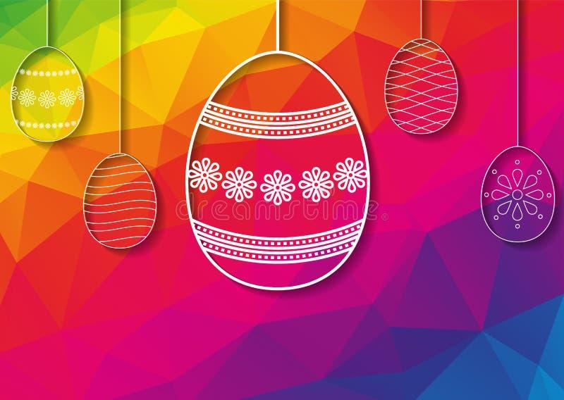 Szczęśliwa Wielkanocna karta z białymi dziurkowatymi Easter jajka ornamentami dalej ilustracji
